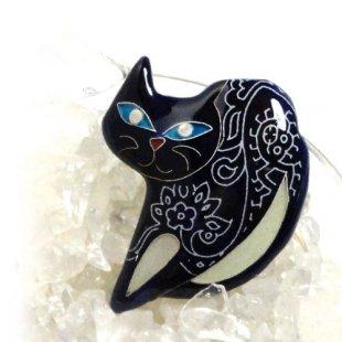 [七宝焼き] ネコのブローチ ブルー(のび)