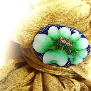 [七宝焼き] 花のブローチ(グリーン)