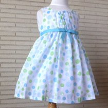 Bonnie Jean アクア×グリーンの水玉ワンピースドレス(トドラーサイズ)