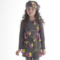Biscotti ピンク×グリーンのフラワーワンピースドレス(ジュニアサイズ)