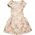 【残り一点!サイズ12のみ】Bonnie Jean ピンクフラワーのバックリボンドレス(ジュニアサイズ)