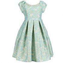 【残り一点!サイズ5のみ】Bonnie Jean パール付きミントグリーンブロケードドレス(キッズサイズ)