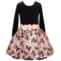 【残り一点!サイズ12のみ】Bonnie Jean キラキラローズの長袖ドレス(ジュニアサイズ)