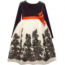 Bonnie Jean リボンフラワーの長袖ドレス(ジュニアサイズ)