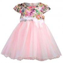 Bonnie Jean フラワー&バタフライチェックの半袖ドレス(トドラーサイズ)
