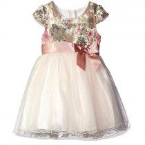 Bonnie Jean ゴールドパウダーチュールの半袖ドレス(キッズサイズ)