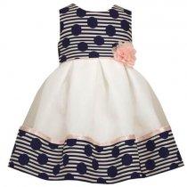 Bonnie Jean 水玉ストライプのホワイトドレス(トドラーサイズ)