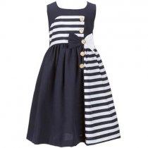 Bonnie Jean ゴールドボタンのマリンボーダードレス(ジュニアサイズ)