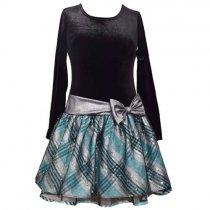 Bonnie Jean キラキラブルーチェックの長袖ドレス(ジュニアサイズ)