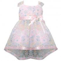 Bonnie Jean フラワーチェックのオーガンジードレス(キッズサイズ)