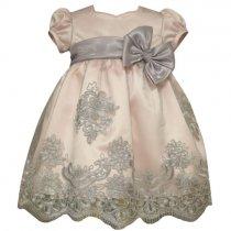 Bonnie Jean ピンク×グレーの刺繍チュールドレス(トドラーサイズ)