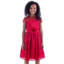Bonnie Jean イリュージョンネックのキラキラレッドドレス(ジュニアサイズ)