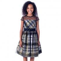 Bonnie Jean イリュージョンネックのゴールドチェックドレス(ジュニアサイズ)