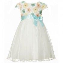 Bonnie Jean スパンコールフラワーの半袖ドレス(キッズサイズ)
