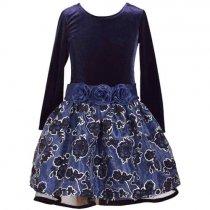 Bonnie Jean シルバーラインフラワーの長袖ドレス(トドラーサイズ)