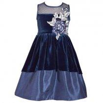 Bonnie Jean イリュージョンネックのベルベットオーバーレイドレス(ジュニアサイズ)