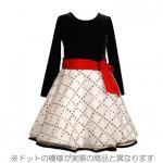 Bonnie Jean 白×黒の水玉長袖ドレス(キッズサイズ)