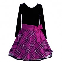【残り一点!サイズ12のみ!!】Bonnie Jean パープルチェックの長袖ドレス(ジュニアサイズ)