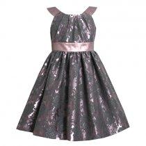Bonnie Jean ピンク×チャコールグレーのブロケードドレス(キッズサイズ)