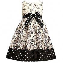 Bonnie Jean お花×蝶々のアイボリーのドレス(トドラーサイズ)