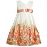 【残り一点!サイズ5のみ!!】Bonnie Jean コーラルピンクのバラのチュールドレス(キッズサイズ)