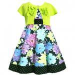 【残り一点!サイズ4のみ】Bonnie Jean ライムのカーディガン付きドレス(キッズサイズ)