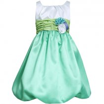 【残り一点!6xのみ】Bonnie Jean 白×グリーンのカラーブロックドレス(キッズサイズ)
