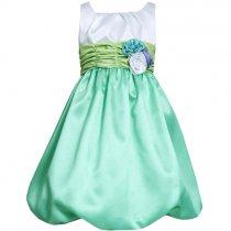 【残り一点!サイズ12のみ】Bonnie Jean 白×グリーンのカラーブロックドレス(ジュニアサイズ)