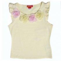 Kate Mack ピンク×イエローコサージュのTシャツ(ジュニアサイズ)