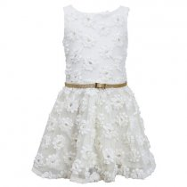 Bonnie Jean ベルト付きホワイトフローラルドレス(キッズサイズ)