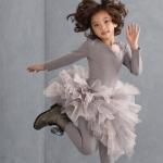 【残り一点!サイズ10のみ】Kate Mack グレー×ピンクの長袖チュールフリルドレス(ジュニアサイズ)