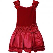 【残り一点!サイズ7のみ】Isobella and Chloe 赤のベルベットドレス(ジュニアサイズ)