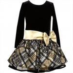 【残り一点!サイズ16のみ】Bonnie Jean ゴールドドット×チェックの長袖ドレス(ジュニアサイズ)