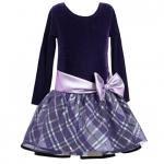 Bonnie Jean パープルドット×チェックの長袖ドレス(キッズサイズ)