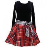 【残り一点!サイズ4のみ】Bonnie Jean 赤×黒チェックの長袖ドレス(キッズサイズ)