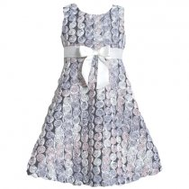 Bonnie Jean ホワイトシルバーのバラのドレス(キッズサイズ)