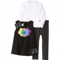 【残り一点!サイズ6のみ】Bonnie Jean お花フリースのジャンバースカートセット(キッズサイズ)