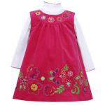 【残り一点!サイズ5のみ】Bonnie Jean お花刺繍のピンクジャンバースカートセット(キッズサイズ)