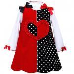 Bonnie Jean 赤×水玉のカラーブロックジャンバースカートセット(トドラーサイズ)