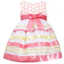 【残り一点!4Tのみ】Bonnie Jean ピンク×イエローのボーダードレス(トドラーサイズ)