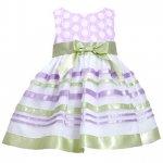 【残り一点!サイズ6のみ】Bonnie Jean グリーン×パープルのボーダードレス(キッズサイズ)