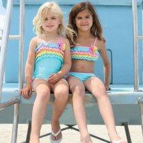 【残り一点!3Tのみ】Isobella and Chloe トリコロールフリルのワンピース水着(3T〜10)