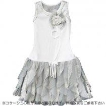 Isobella and Chloe 白×グレーのカスケードフリルワンピースドレス(サイズ5〜8)