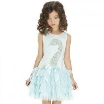 Kate Mack グリーンブルーのスワンワンピースドレス(キッズサイズ)