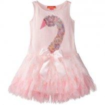 Kate Mack ピンクのスワンワンピースドレス(トドラーサイズ)