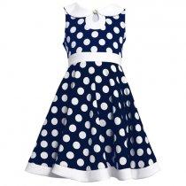 【残り一点!サイズ4のみ】Bonnie Jean ネイビードットの襟付きドレス(キッズサイズ)