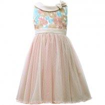 【残り一点!サイズ4のみ】Bonnie Jean 刺繍トップスのローズカラードレス(キッズサイズ)