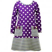 Bonnie Jean 紫の水玉長袖ワンピース(トドラーサイズ)