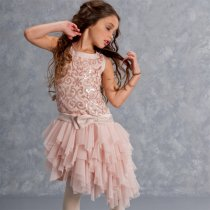 【残り一点!サイズ8のみ】Biscotti ピンクベージュのアシンメトリードレス(ジュニアサイズ)