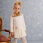 【残り一点!サイズ10のみ】Biscotti パール飾りのバルーンニットワンピース(ジュニアサイズ)